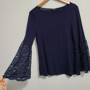 Cable & gauge navy blue lace bell sleeves …